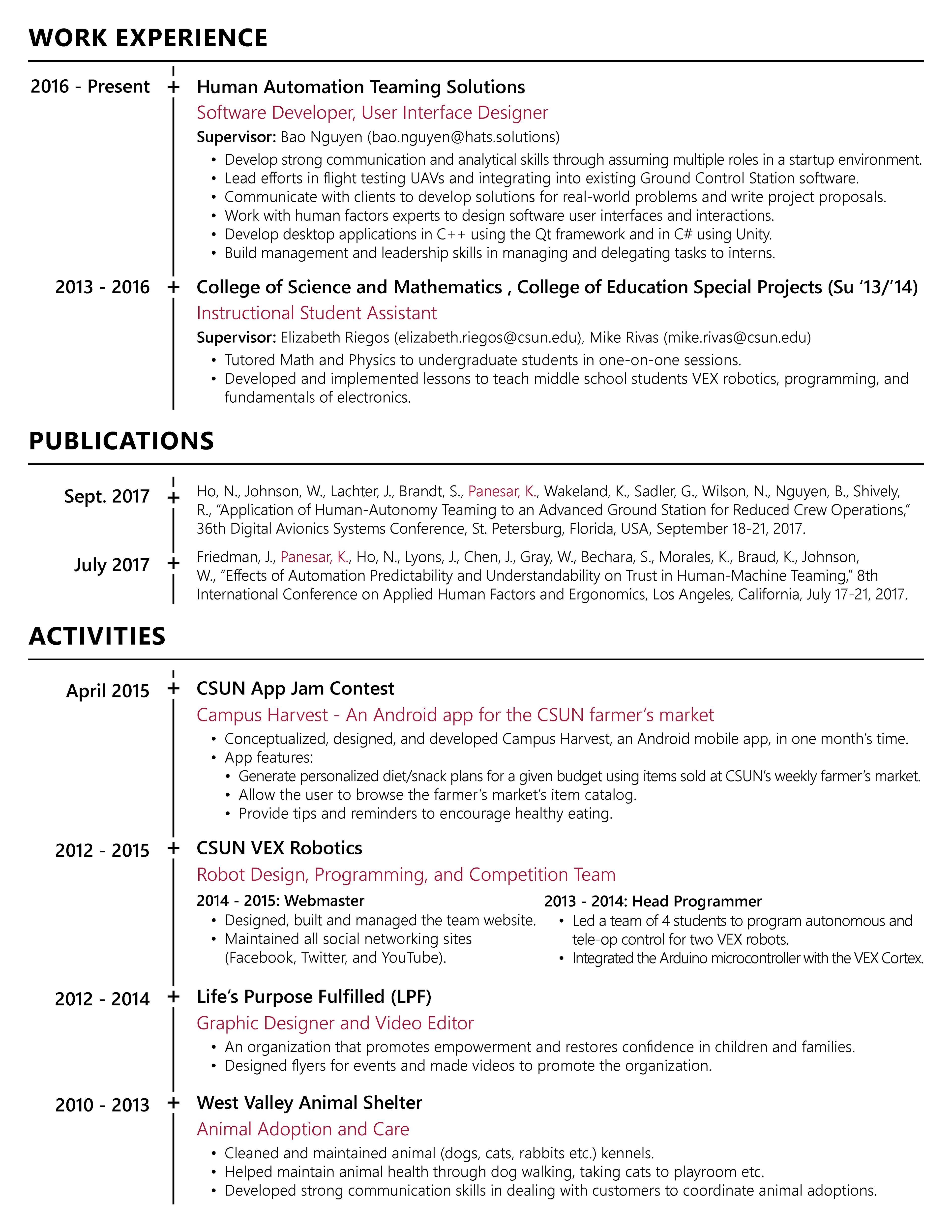 Karanvir Panesar - Curriculum Vitae