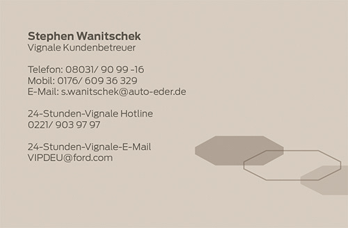 Christian Unger Layout Visitenkarten Ford Vignale Modellreihe