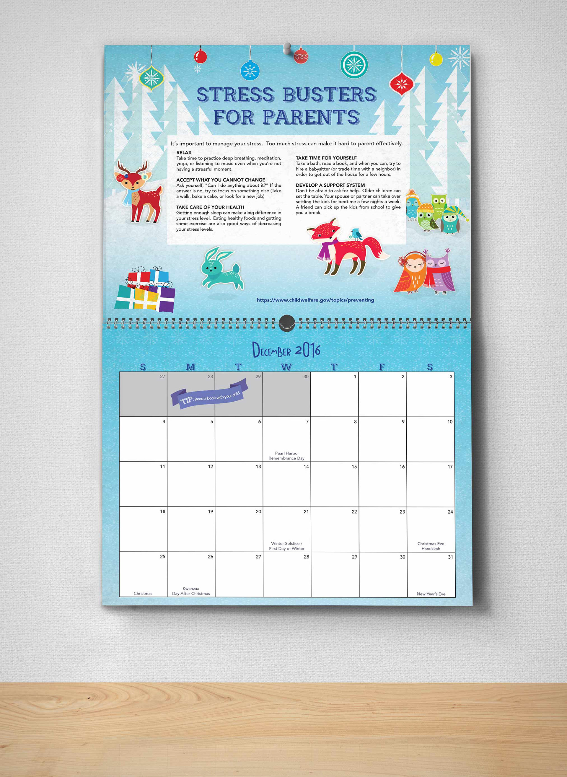 Audrey rainwater dfps 2016 parenting tips calendar calendar for 2016 the inicial animal images were bought from istock and then manipulated to go with the different scenes leaving the background and solutioingenieria Image collections