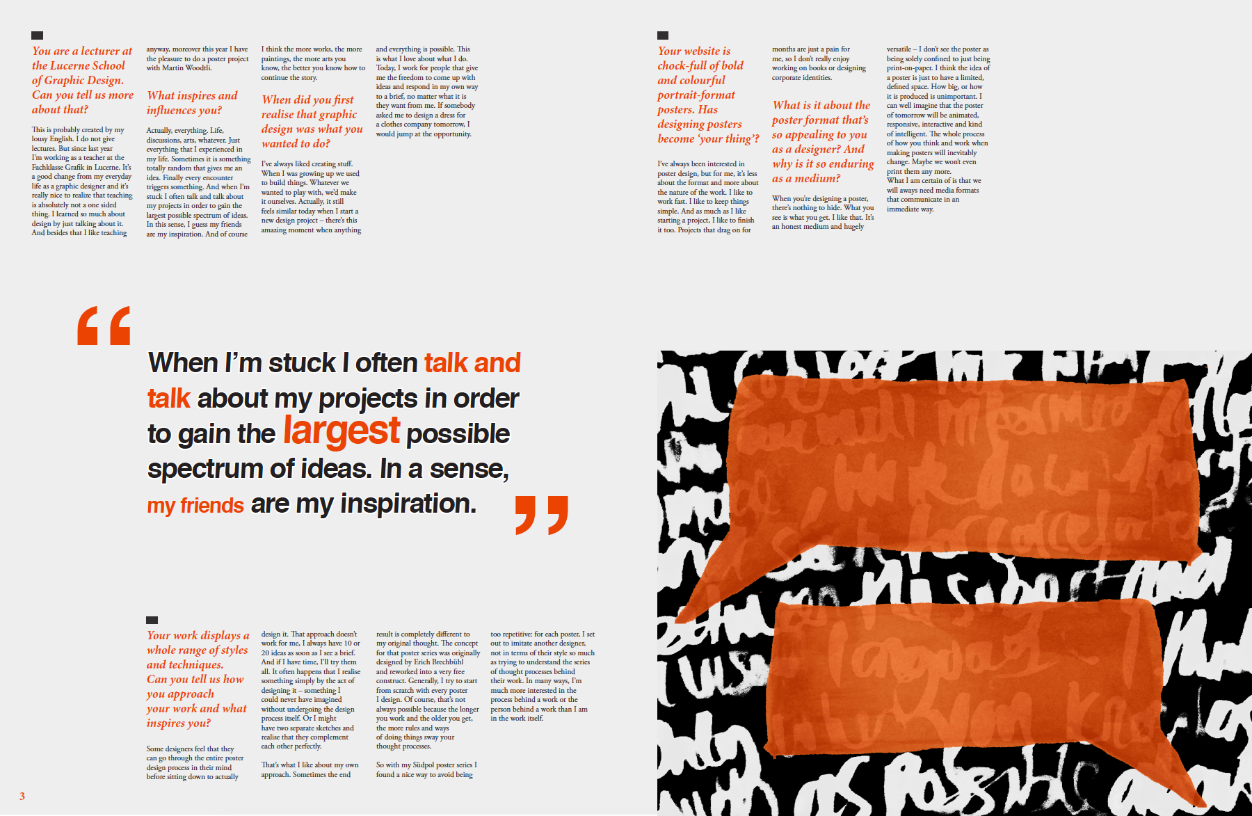 editorial design for typeradio featuring felix pfafflis visuals draw from quotes that capture his personality layout reflects the simple and bold way
