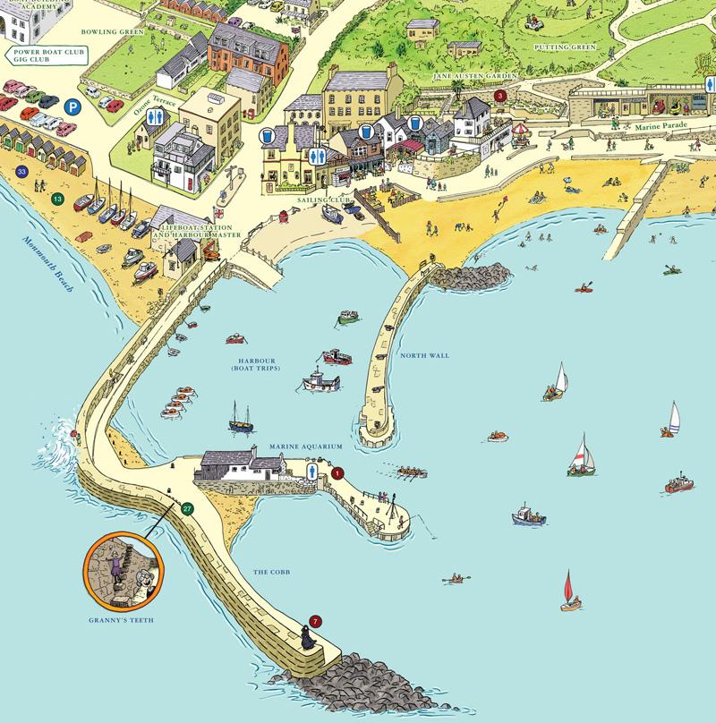 Lyme Regis Map Keith Robinson Illustration   Lyme Regis, Tourist Map