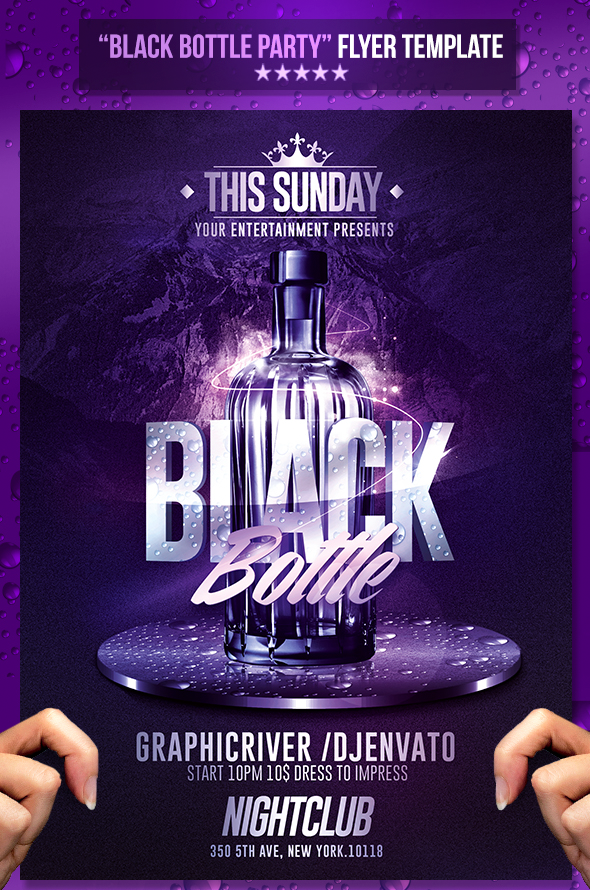 Rome Creation Black Bottle Party Psd Flyer Template