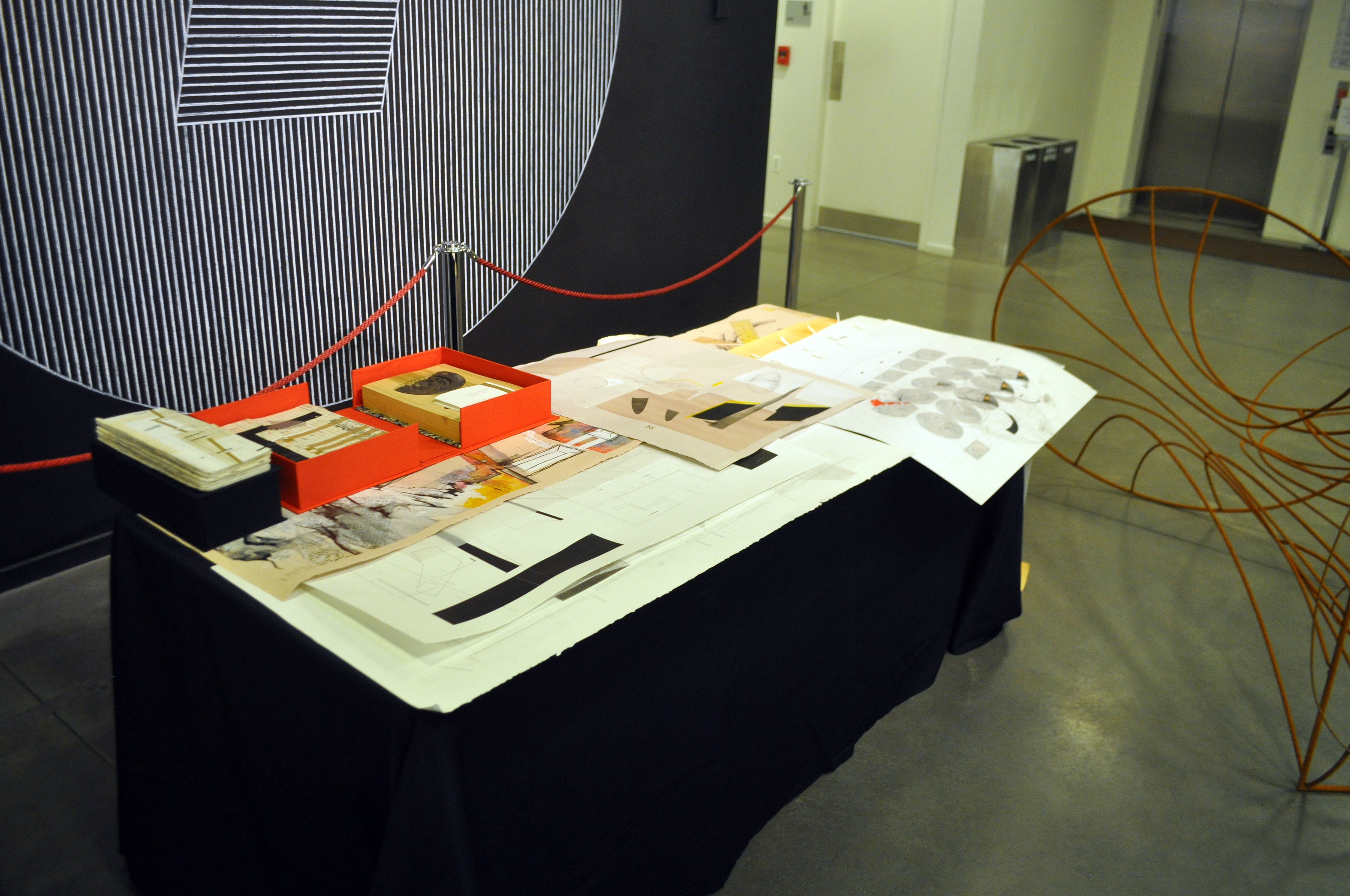 Matthew bohne risd museum design the night blueprint spring 2015 table with drawings and books in front of sol lewitt wall drawing 328 1980 helen m danforth acquisition fund malvernweather Images
