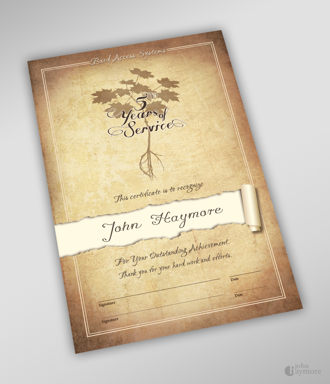 John Haymore Year Of Service Certificate