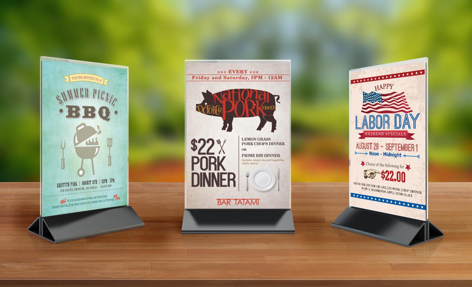 Helen Min Restaurant Table Tent - Restaurant table advertising