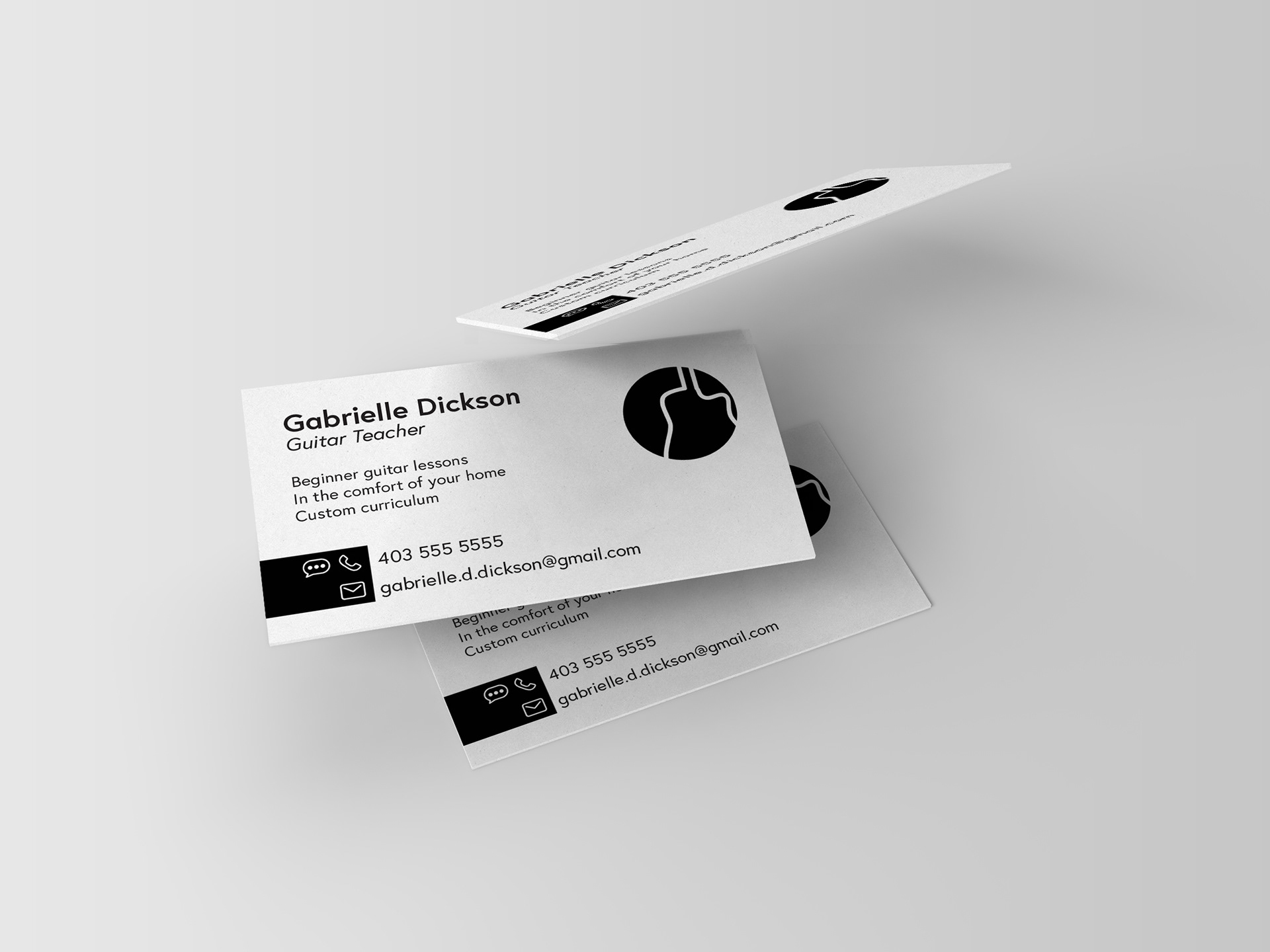 outside of working in design i am passionate about music and run my own business providing guitar lessons to support my business i created this business - Design My Business Card