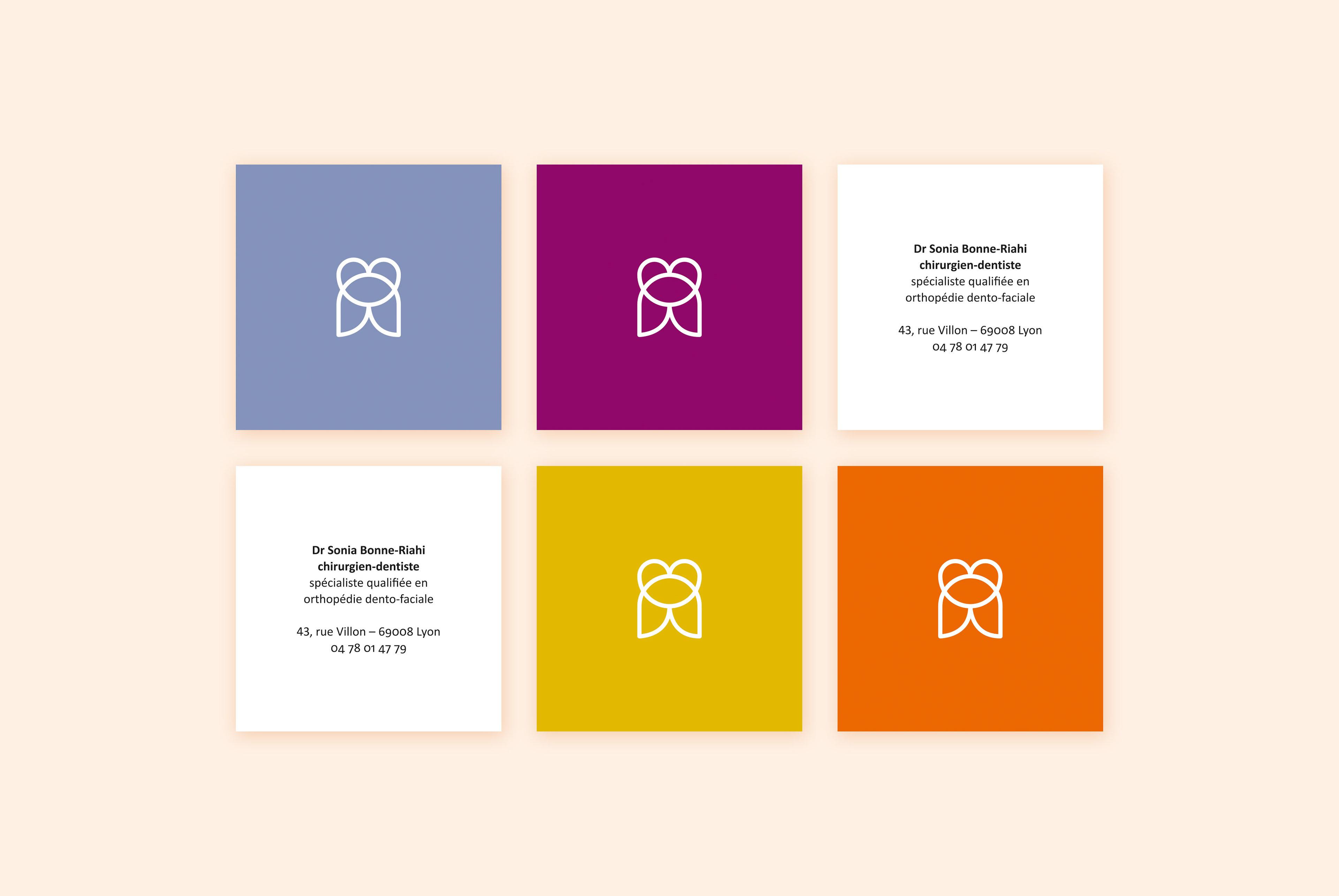 Lidentite Du Docteur Sonia Bonne Riahi Chirurgien Dentiste Declinaison Logo En Deux Versions Dont Lune Sadresse Aux Enfants Cartes De Visite