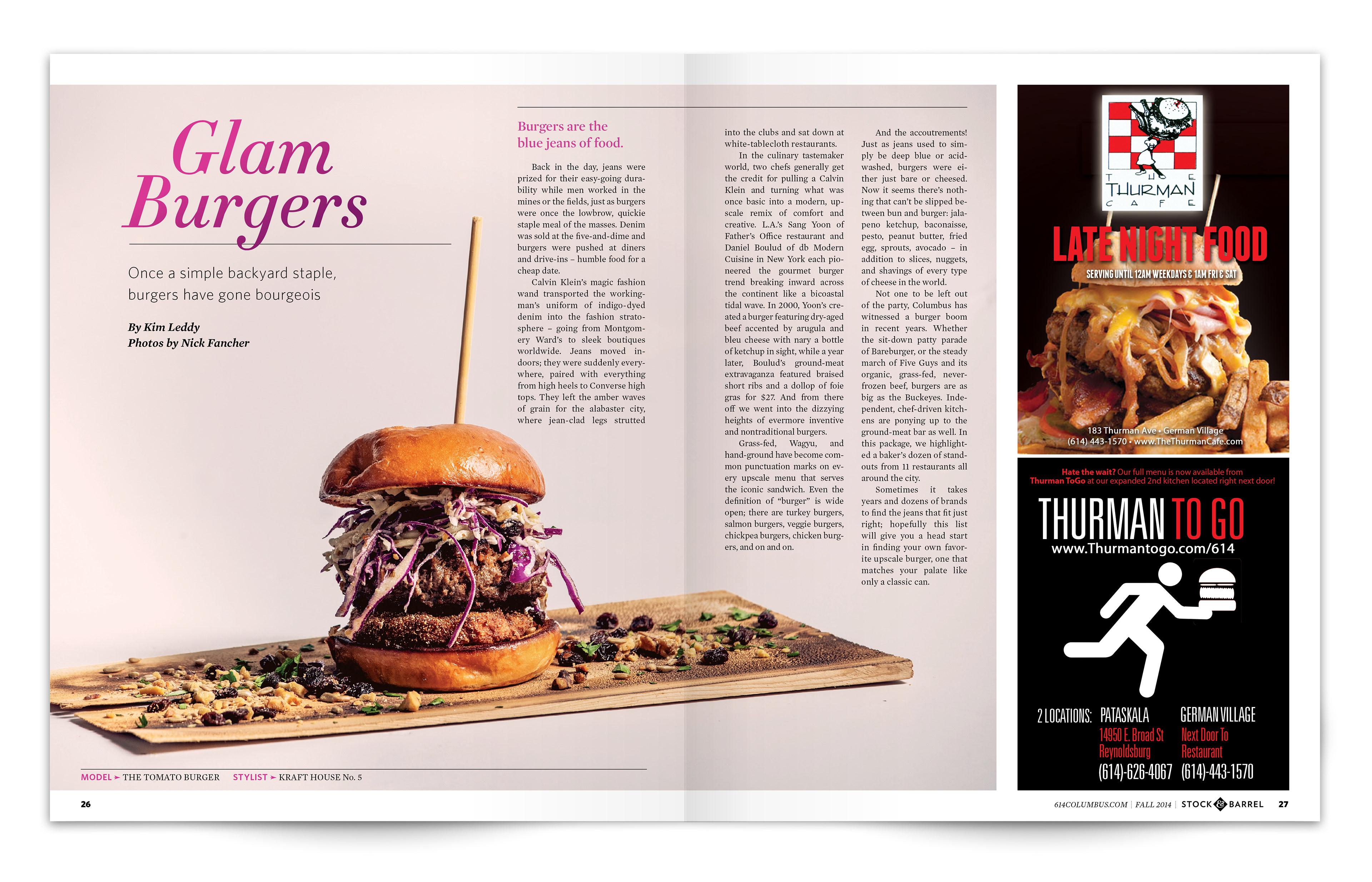 Laura Sanders Glam Burgers Magazine Layout