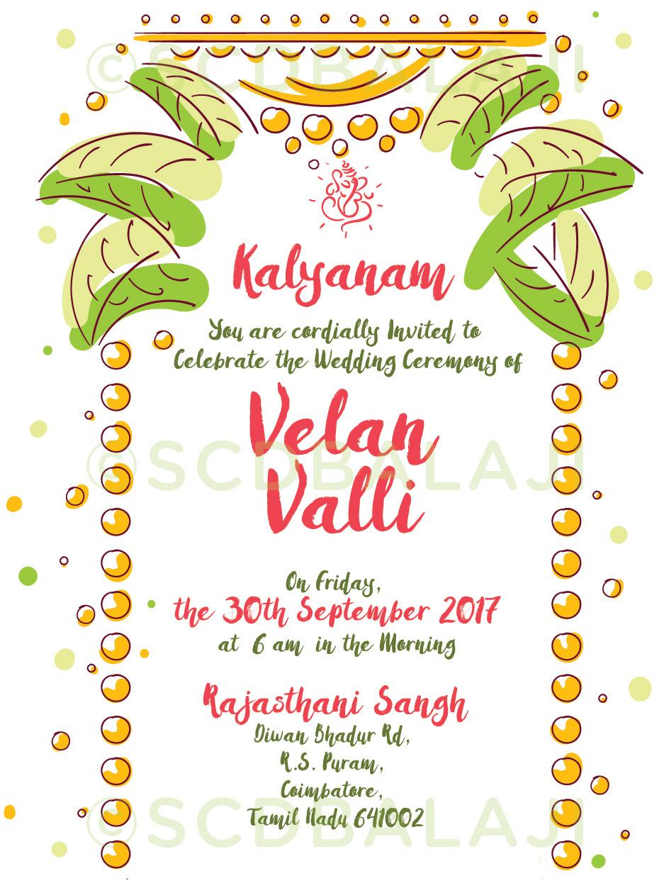 Quirky Indian Wedding Invitations Tamil Wedding Invitation