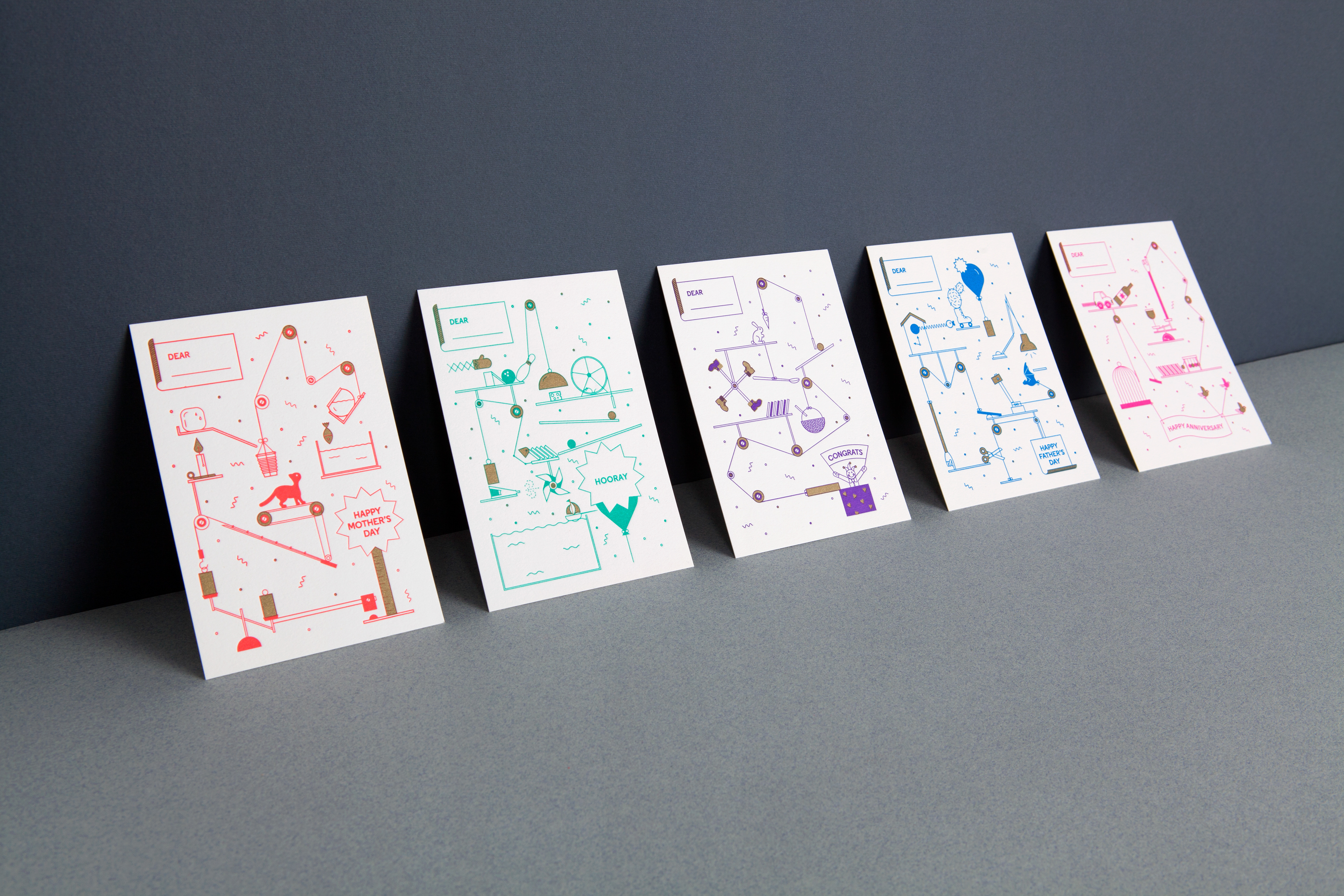 Mayra monobe design art direction machine series greeting cards inspired by childhood games and rube goldbergs inventions this series of 5 letterpress a6 cards tell different stories each ending up with a fun greeting m4hsunfo