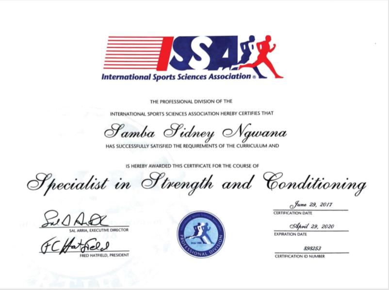 Samba Sidney Ngwana - Certifications