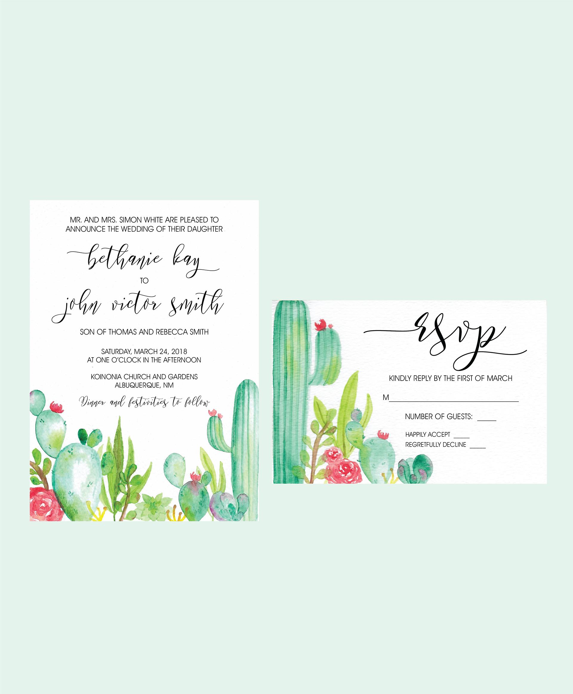 KIN.DRE DESIGN CO - Cactus Wedding Invitation Suite