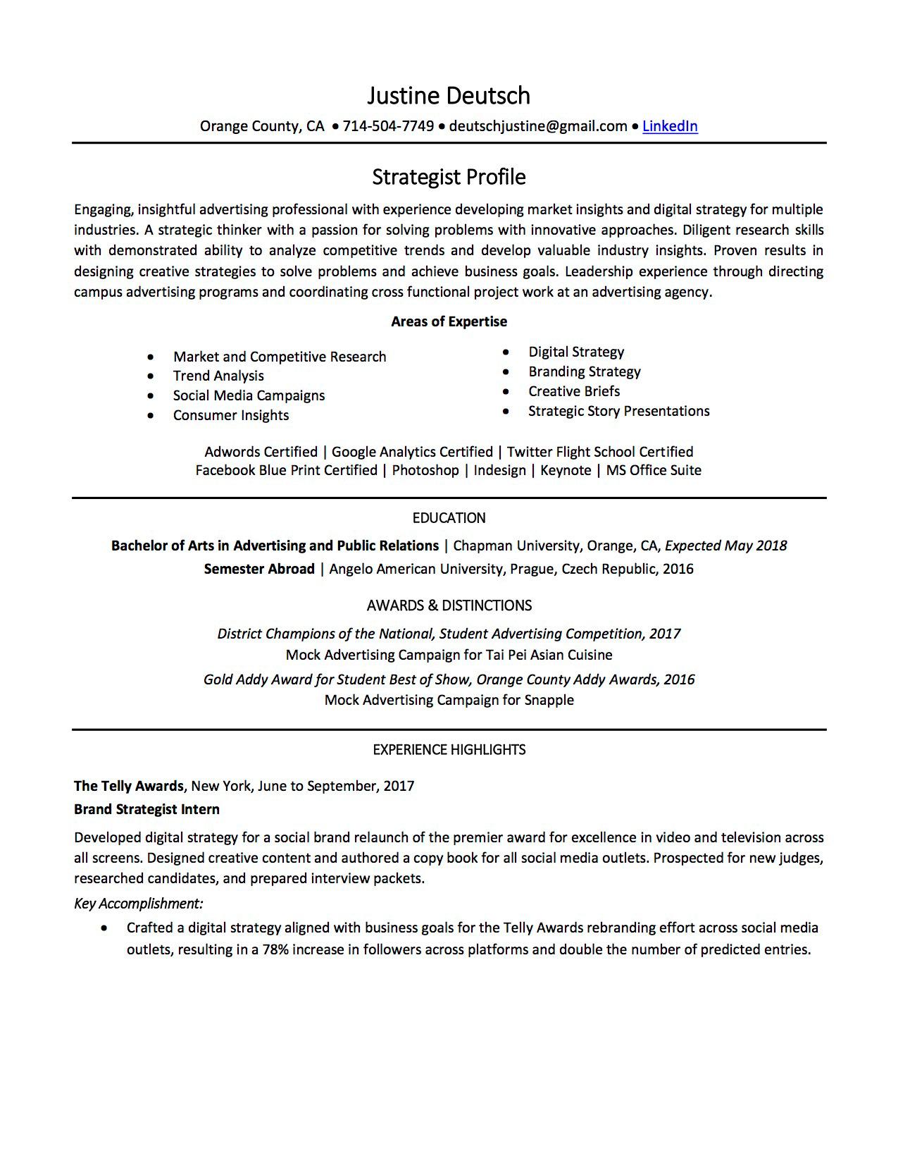Justine Deutsch - Resume