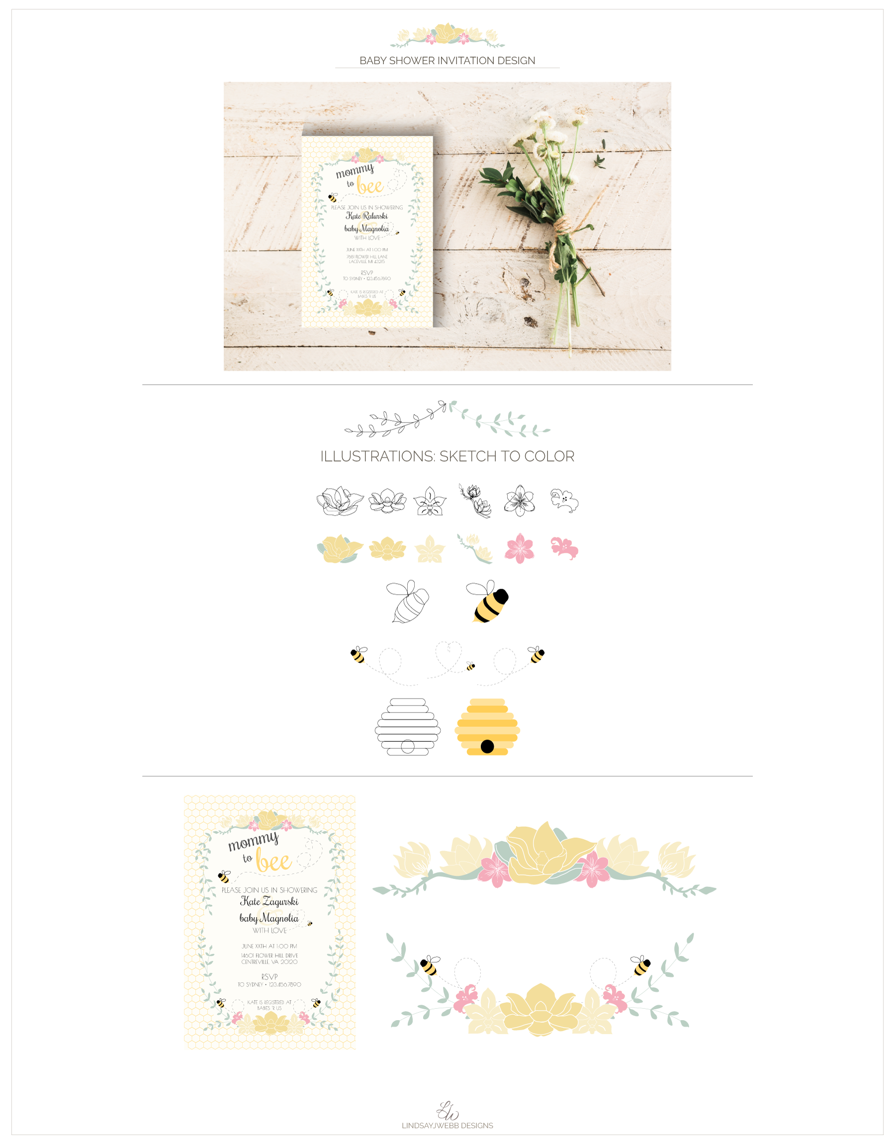 Personalized Invitation Designed For A Bee Themed Baby Shower Key Design Elements Include Ilrations Of Flowers And Ble Bees