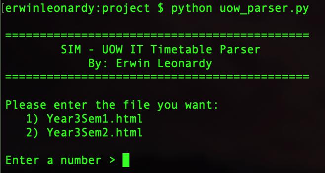 Erwin Leonardy - Python Timetable Parser