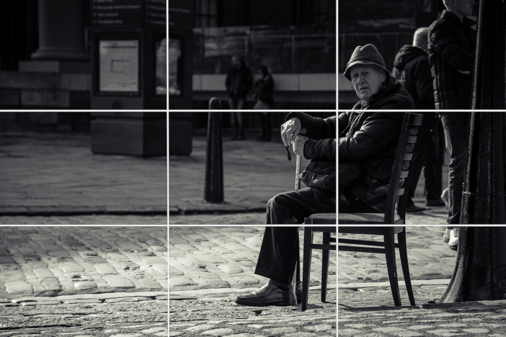 Black and white street photography split into the rule of thirds.