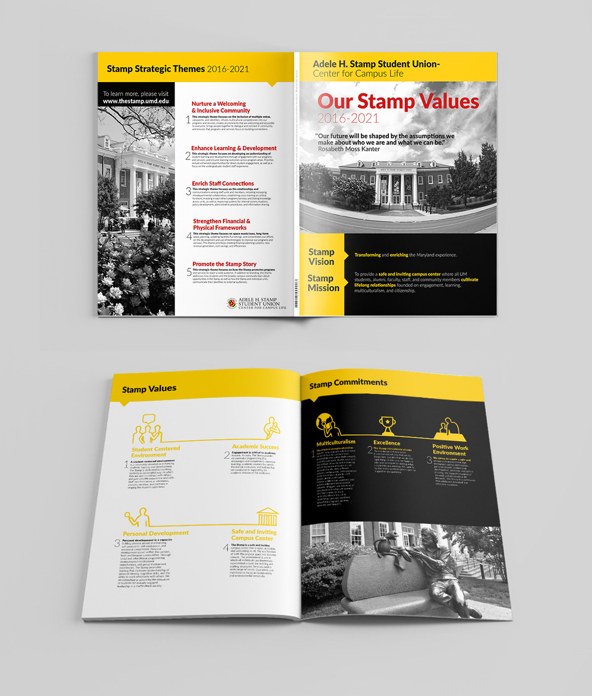 Booklet Of Values For Adele H Stamp Student Union Building At University Maryland