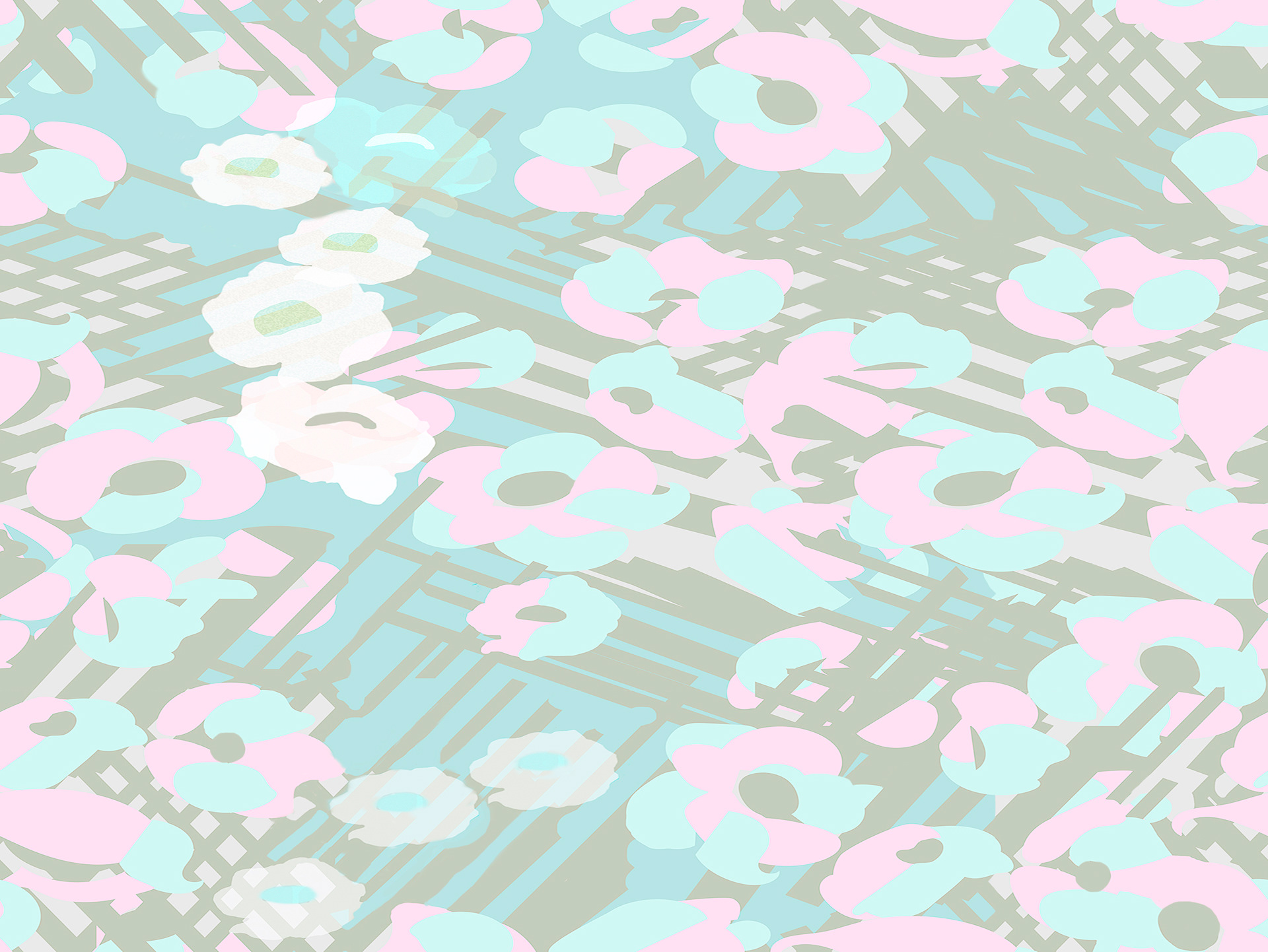 Lydie Vacher Flowers Seamless Pattern For Textile Wrapping Paper