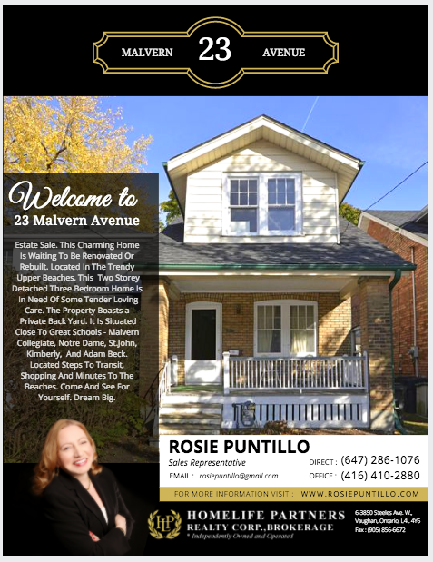 Real Estate Feature Sheet Design Rosie Puntillo