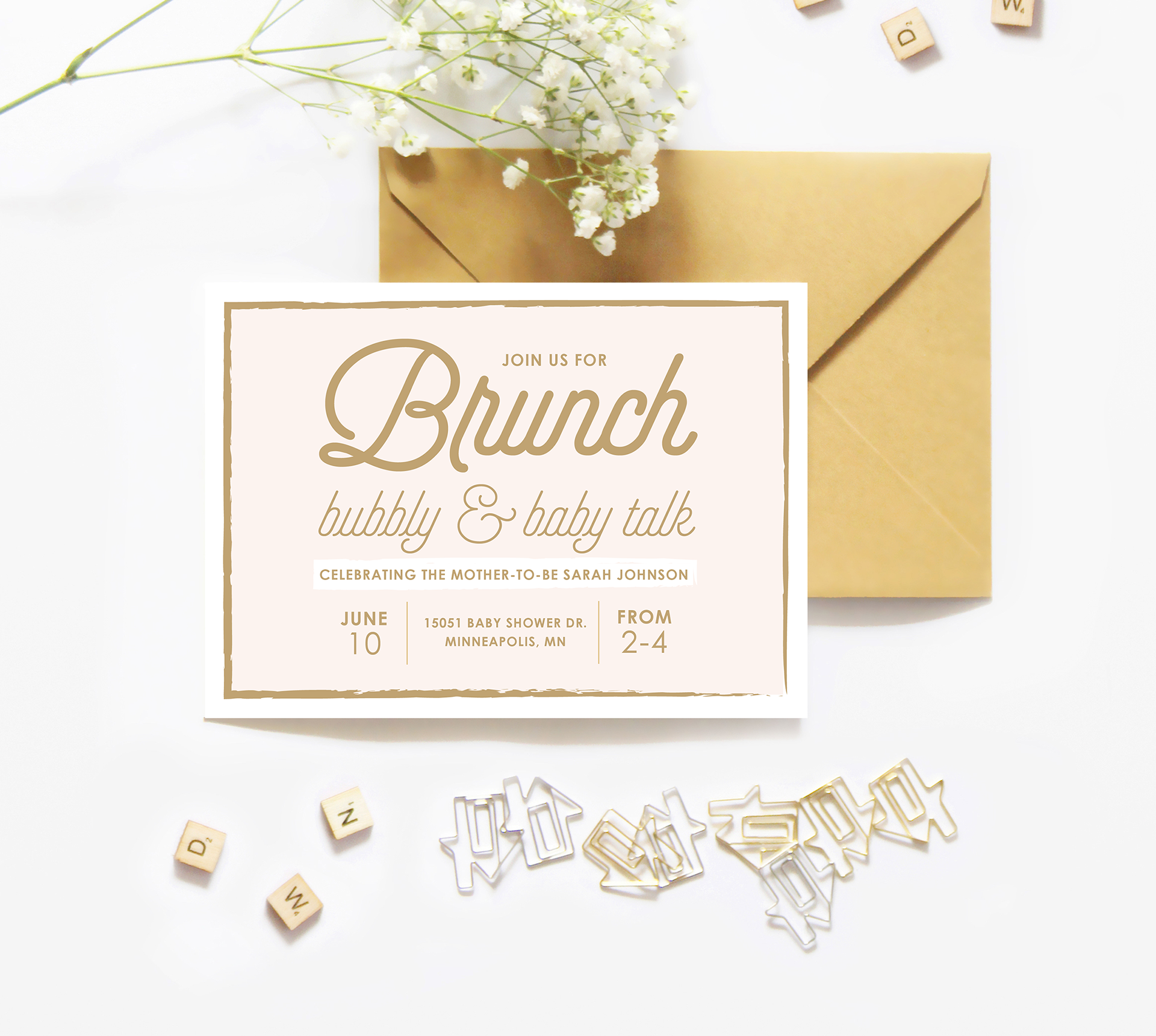 Chrissie Parker - Brunch, Bubbly, and Baby Talk Baby Shower Invitation