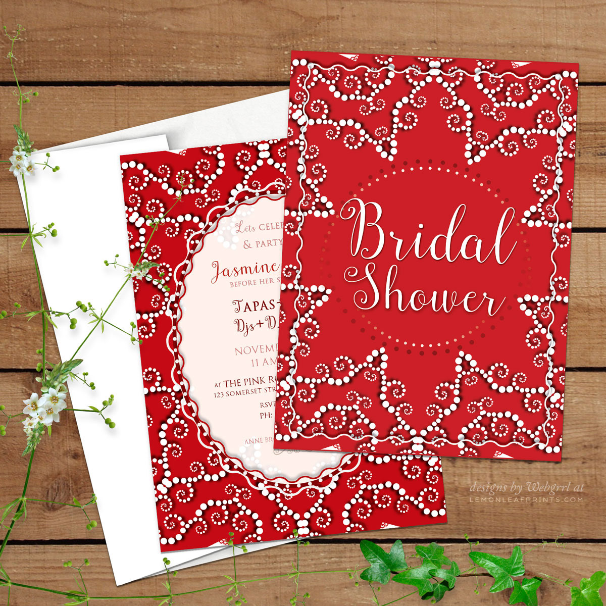 Webgrrl - Intuitive Digital Artist - Red & White | Invitations