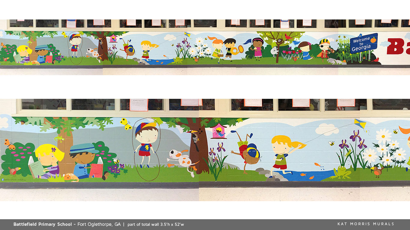 kat morris murals best chattanooga mural painter i was approached about designing something for this 52 w x 3 5 h primary school mural that covers the long outside wall of the media center i proposed