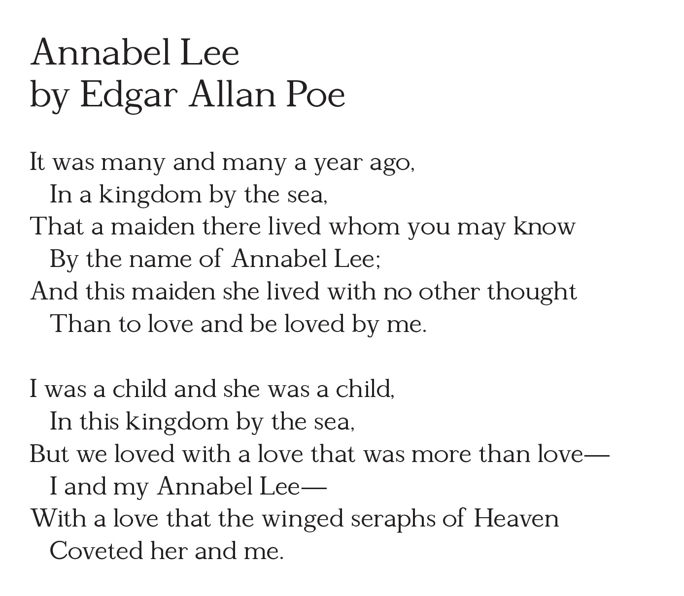 the theme of love in edgar allan poes annabell lee