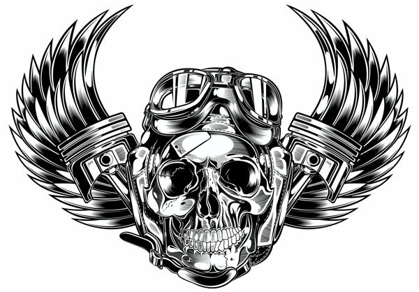 Dvicente Art Com Portfolio Skull Amp Pistons Harley