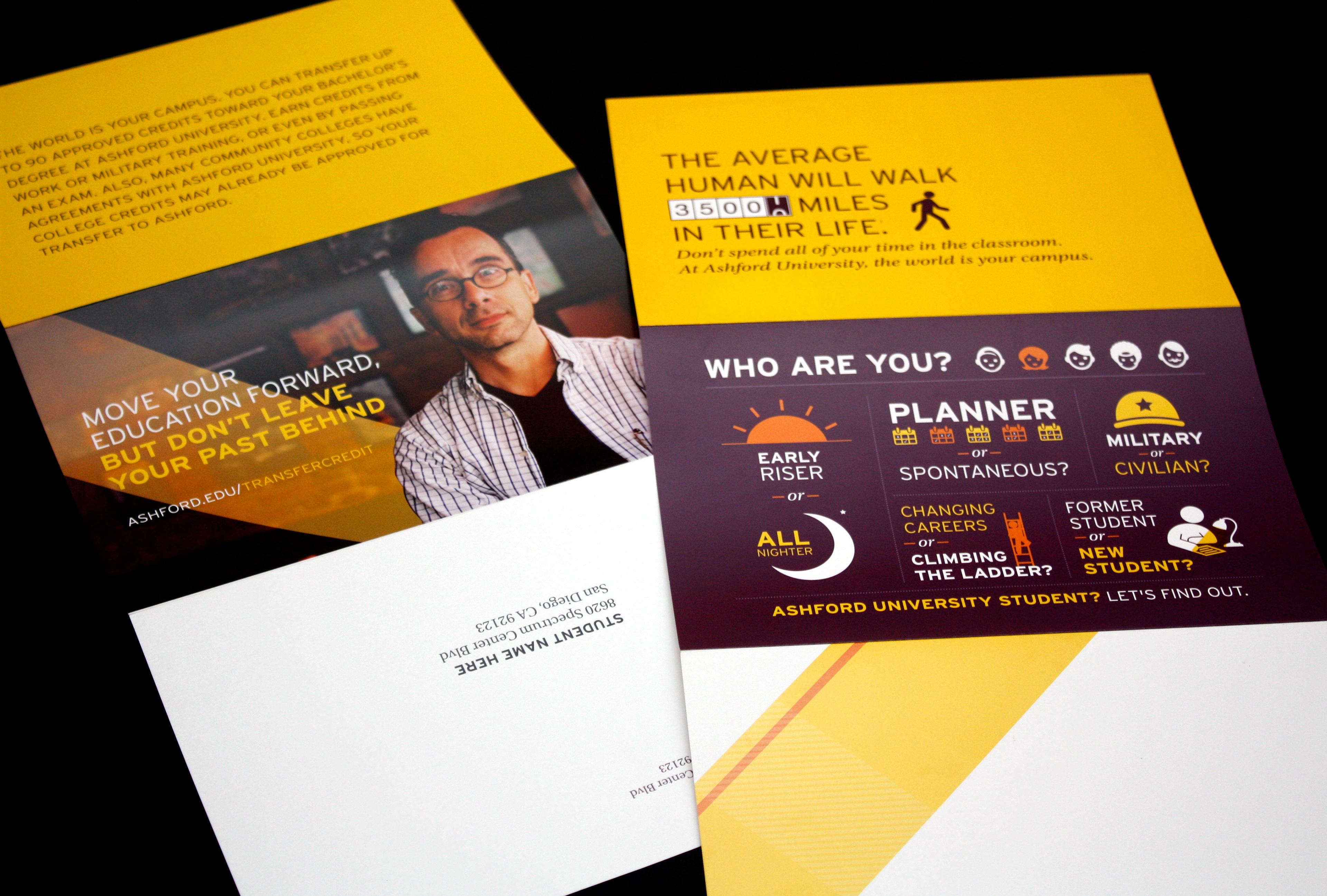 field design - Ashford University Direct Mailers