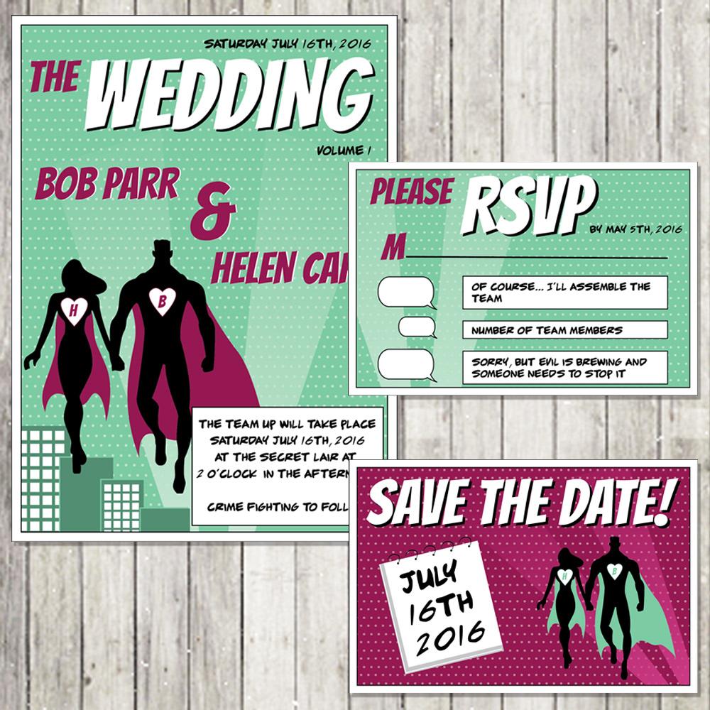 Superhero Wedding Invitation Set