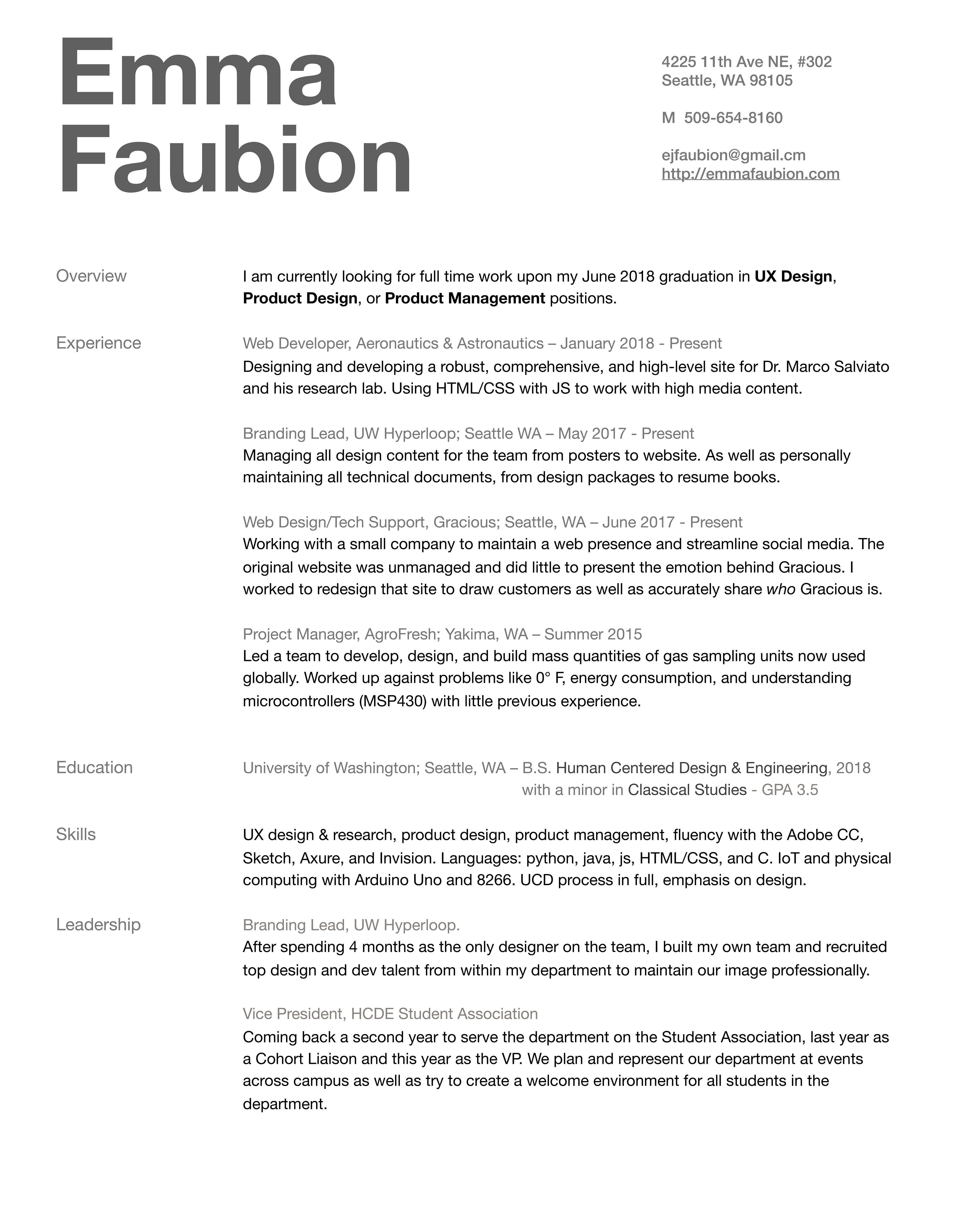 Emma Faubion Resume