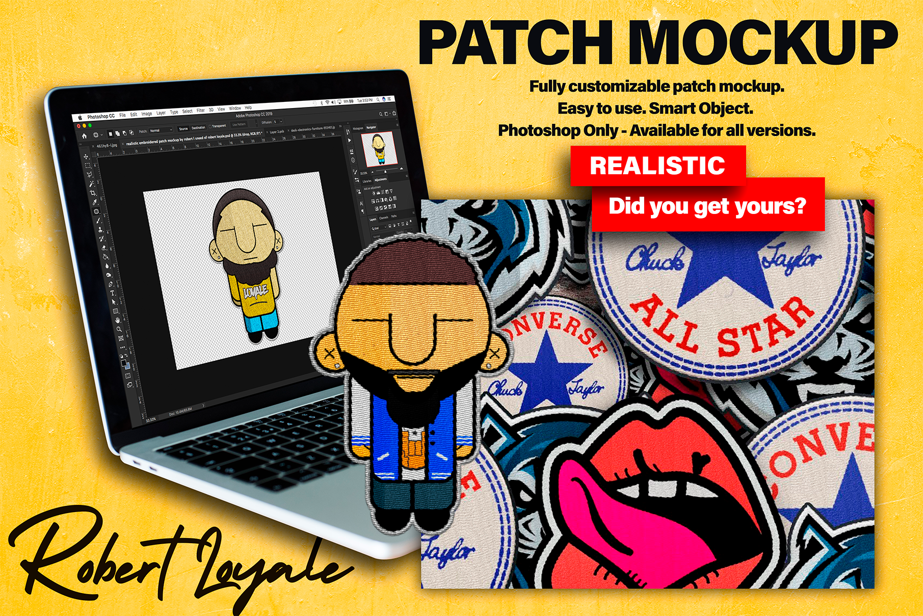 Graphic Designer And Brand Strategist Realistic Patch Template Mockup