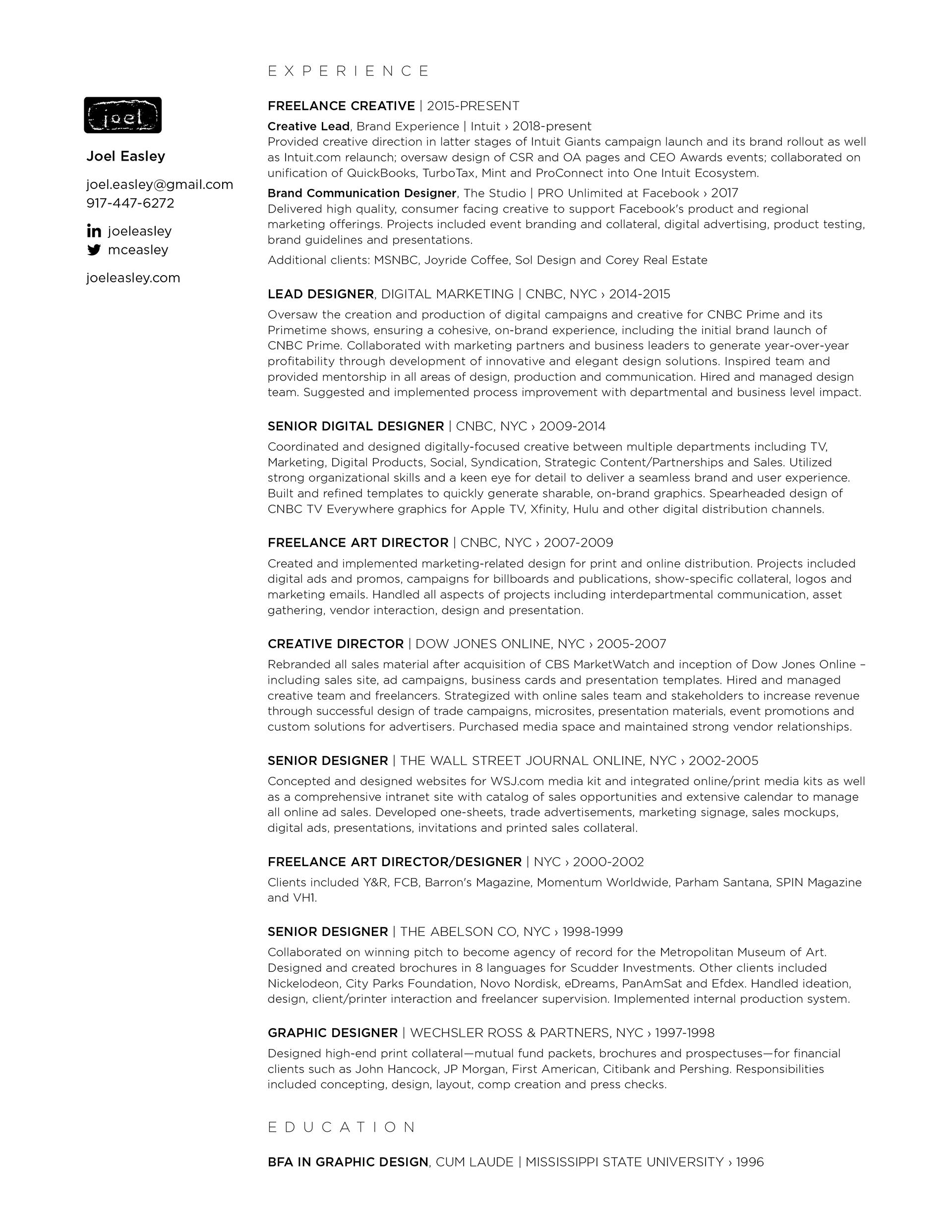 joel easley - résumé, Cnbc Presentation Template, Presentation templates