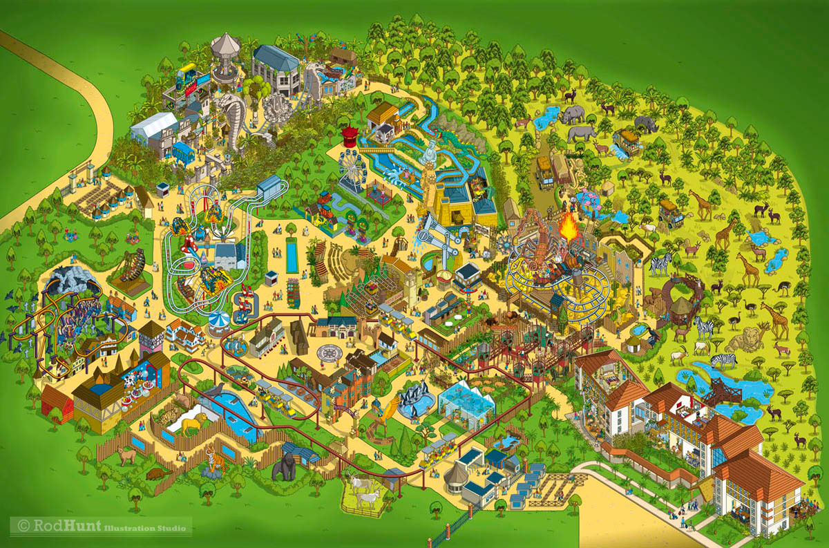 Theme Park Map Design Rod Hunt / Illustration and Illustrated Maps   Map Illustrator