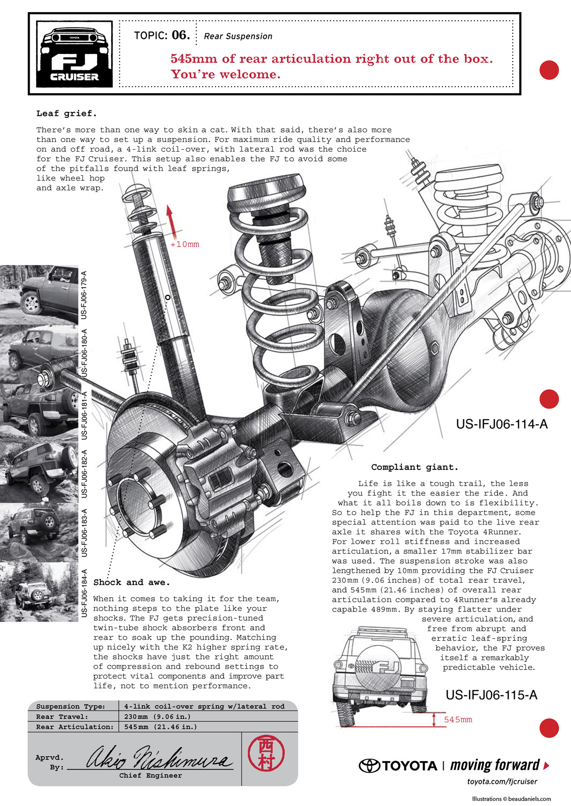 FJ Cruiser Ads. Rear suspension technical illustration, Toyota FJ Cruiser.