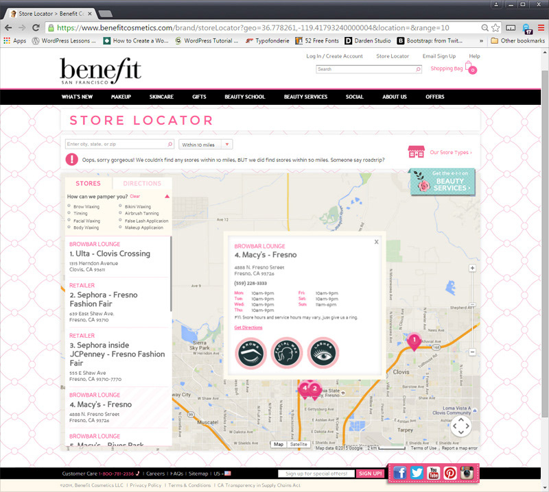 Aliana Rood - Benefit Cosmetics: Store Locator